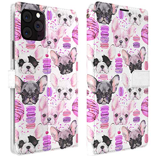 Mertak Wallet Case Compatible with iPhone 12 11 Pro Max SE Xr Xs X 8 Plus 7 6s Flip Folio Slim Fit Macaroons Animals French Bulldog PU Leather Dogs Donuts Lightweight Magnetic Protective Cover Cute