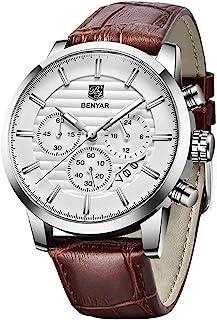 BENYAR Quartz Chronograph ساعتهای ضد آب طراحی کسب و کار و ورزش طراحی چرمی بند ساعت مچی برای مردان