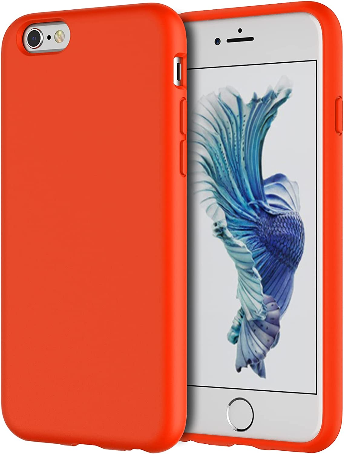 JETech Silicone Case Compatible with iPhone 6s/6 4.7 Inch, Silky-Soft Touch Full-Body Protective Case, Shockproof Cover with Microfiber Lining (Orange Red)