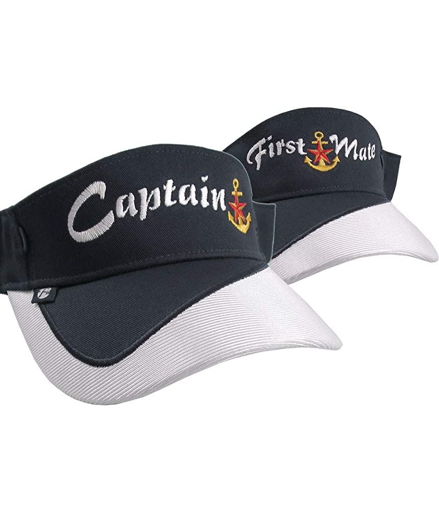 Captain and First Mate Nautical Star Anchor Embroidery Couple Navy Blue and White Visors Duo Adjustable Elegant Fashion Sun Hats