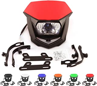 Universal Motorcycle Headlight Head Lamp Light Kit H4 12V 35W For HONDA YAMAHA KAWASAKI SUZUKI CR CRF XR YZ YZF WR KX KXF KLX RM RMZ 125 250 450 ATV Pit Dirt Bike Red
