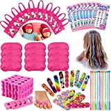 Tacobear Spa Party Supplies for Girls Multiple Spa Party Favors for Kids with 12 Tote Bags 24 Emery Boards 12 Colored Hair Clip Braids 24 Toe Separators 12 Pink Spa Masks 12 Unicorn Nail Decal Sets