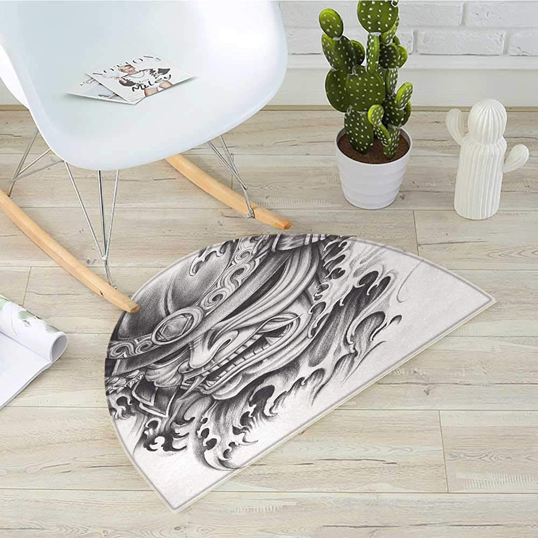 Kabuki Mask Half Round Door mats Warrior Samurai Drawing Style with Angry Expression Historical Figure Artwork Bathroom Mat H 39.3  xD 59  Black White