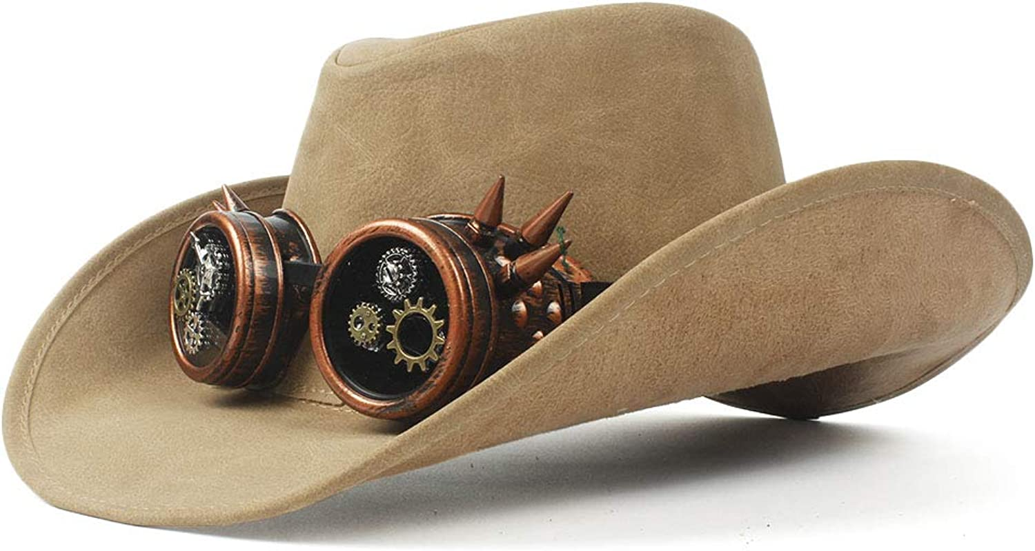 Cap 2018 New Fashion Western Cowboy Hat Faux Leather Bowler Metal Decoration Wide Brim Men Women Black Cap Cowboy Hat (color   Natural, Size   5759cm)