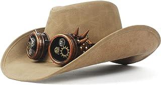 Z.L.F 100%レザー ウエスタン カウボーイハット レディース メンズ テンガロンハット つば広 UVカット 旅行 帽子 男女兼用