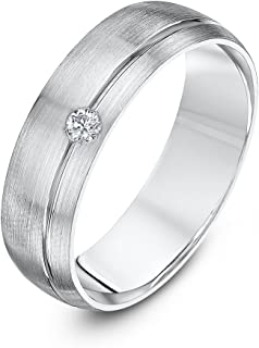 Theia palladium 950–超加厚, COURT 形状,6mm ,63.5cm x 73.66cm 哑光带,一套带0.05克拉钻石结婚戒指