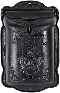 Akang Mailboxes for Outside, Wall-Mounted Locked Mailbox, Decorative Outdoor Mailbox,Cast Iron (Color : Black B)
