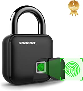 Fingerprint Padlock Keyless Smart Lock- SOOCOO Thumbprint Biometric Padlock Ip66 Waterproof Portable Security Locker for Gym, Door,Bicycle,Scooter(Upgrated)(L3)
