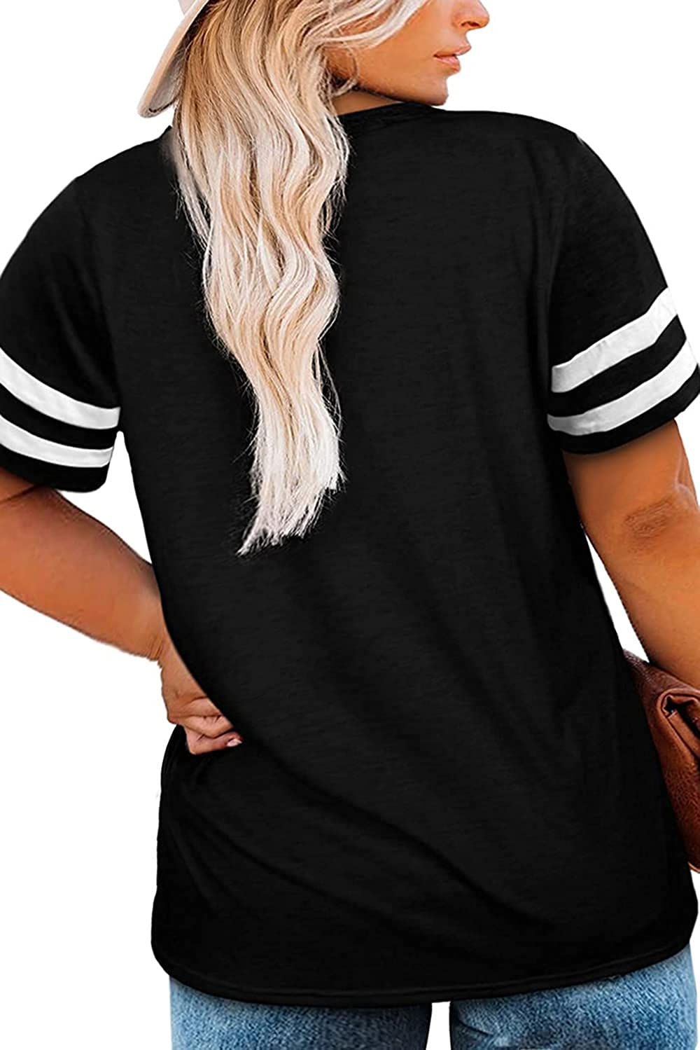 CARROTMOB Womens Plus Size Tops Summer Short Sleeve T Casual Loose Tunic V Neck Tee Shirts 1X-5X