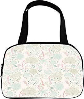 Multiple Picture Printing Small Handbag Pink,Floral,Vintage Soft Floral with Dotted Background Nature Inspiration Image,Pale Green Mint Green Coral,for Girls,Comfortable Design.6.3