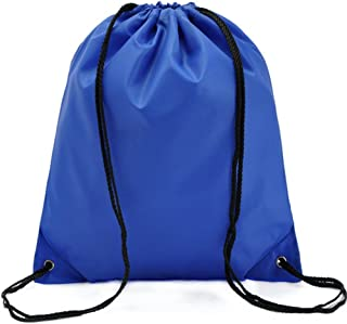 Bullidea Drawstring Bag Waterproof Solid Color Shoulder Backbag Gym Folding Bag for School Travel Or Sport(Blue)