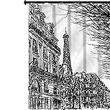 YUAZHOQI Cortina de ducha de tela París, calle parisina con árboles, cortina de baño de poliéster impermeable con 12 ganchos, 183 x 183 cm