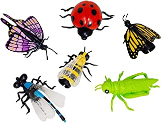 Kicko Vinyl Insect Finger Puppets - Pack of 6-1.75 - 2.75 Inches Assorted Colored Bugs - for Kids - Party Favors, Bag Stuffers, Fun, Toy, Prize, Pinata Fillers