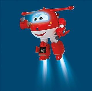 Super Wings - Robot Ready Talking Jett, Figura interattiva con Frasi, luci, Suoni, 24,1 cm di Altezza