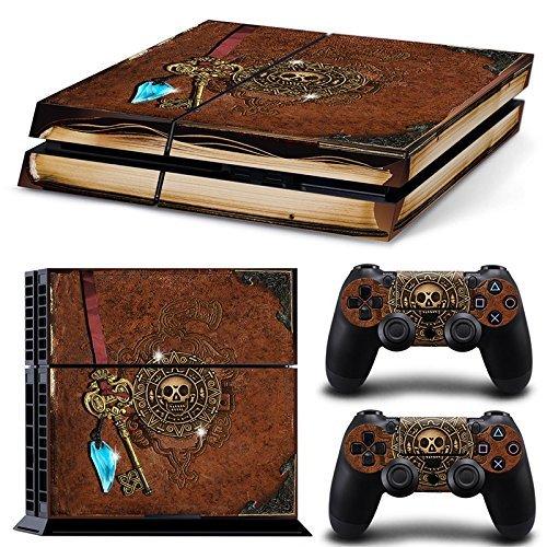 46 North Design Ps4 Playstation 4 Pegatinas De La Consola Old Book Treasure + 2 Pegatinas Del Controlador