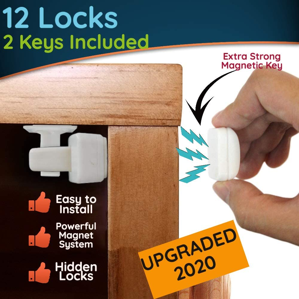 12 Invisible Hidden Magnetic Child and Toddler Proof Safety Door Locks and 2 Keys + 10 BONUS Socket Covers; Bedroom, Kitchen Cabinets and Cupboards - Easy to Install - No Screws or Drilling.