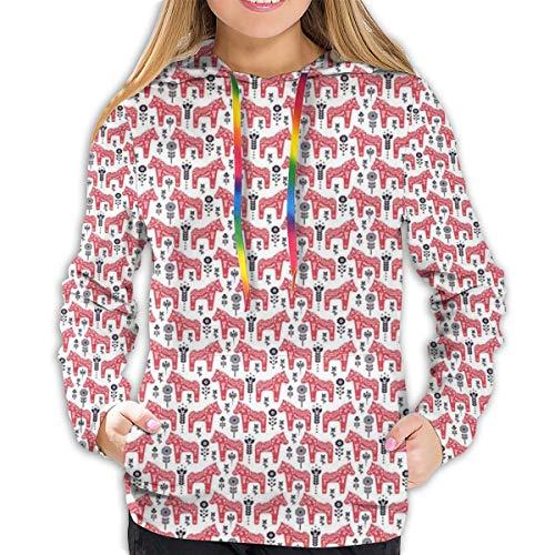 MSGDF Women's Hoodies Tops,Folk Inspired Swedish Dala Horse with Floral Ornaments Folklore Art,Lady Fashion Casual Sweatshirt(XL)