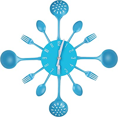 Yesurprise Kitchen Utensil Wall Clock Cutlery Spoon Fork Home Decor Metal Blue (Blue)