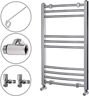 ENKI radiador toallero baño diseño plano cromado doble combustible 800 x 500 mm
