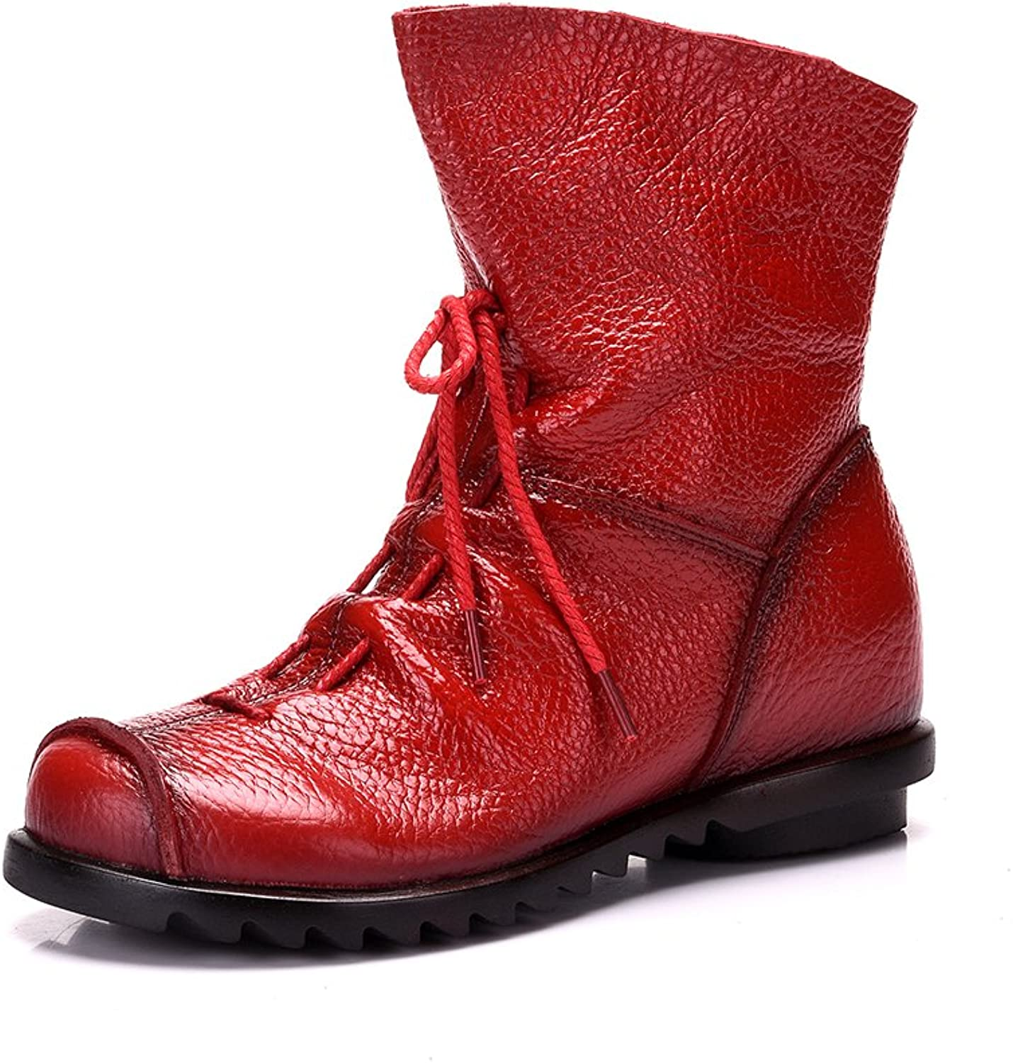 Duberess Women's Side Zipper Real Leather Ankle Toe Cap Boot
