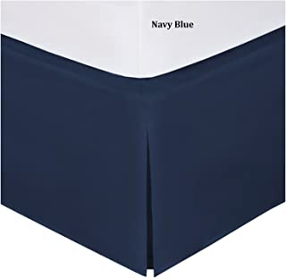 Fancy Collection Easy Care Bed Skirt Microfiber Drop Bed Skirt Solid New (Navy Blue, Twin)