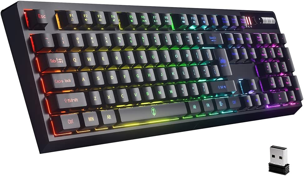 ZJFKSDYX Wireless Gaming Keyboard, 2.4G Connection Surpport Rechargeable RGB LED Backlit Ergonomic Water-Resistant Mechanical Feeling Keyboard (Black)