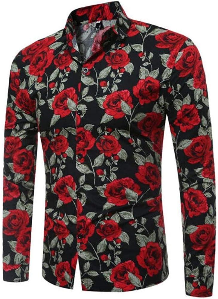 Sushine Men's Rose Floral Print Casual Cotton Long Sleeve Button Down Shirt M-XXXL