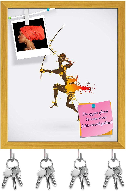 Artzfolio Traditional Ritual Dance D3 Key Holder Hooks   Notice Pin Board   golden Frame 16 X 19.3Inch