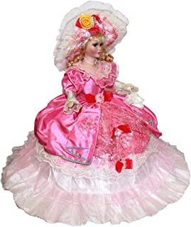 Perfeclan Handmade Porcelain Doll with Stand, 45cm Ceramic Victorian Lady Figurine, Children Gift Teens Collectible, Pink