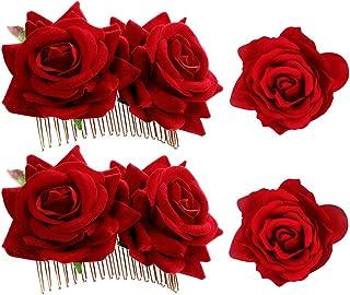 Haarspange mit Rosen, für Damen, Haarschmuck, Haarklammern, Kämme, für Hochzeit, Party, Flamenco-Tänzerin, 4 Stück