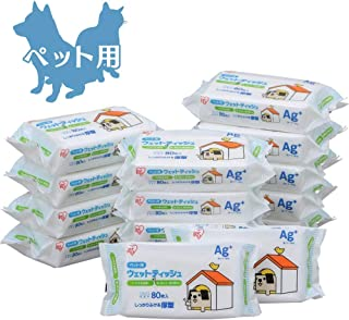 [Amazon限定ブランド] Smart Basic ポチウェットティッシュ (抗菌・消臭効果のある銀イオン配合 国産) ペット用 80枚×15袋 (ケース販売)