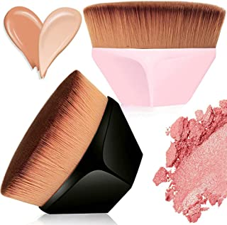 Flat Top Foundation Makeup Brush, Hexagon Professional kabuki Face Blush Brush Portable Contour Concealer Cosmetic Brushes Tool for Blending Liquid, Cream or Flawless Powder Cosmetics with Case