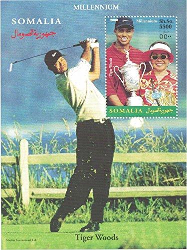Postzegels voor verzamelaars - geperforeerde stempelplaat met golf/tijgerbos/tijgerbos spelen golf/trofee