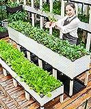 SSZY huerto Urbano Cajas de Plantación Grandes para Jardín Levantadas, Jardinera de Plástico para Patio Al Aire Libre con Patas, Contenedor de Caja de Plantación de Bricolaje para Niños