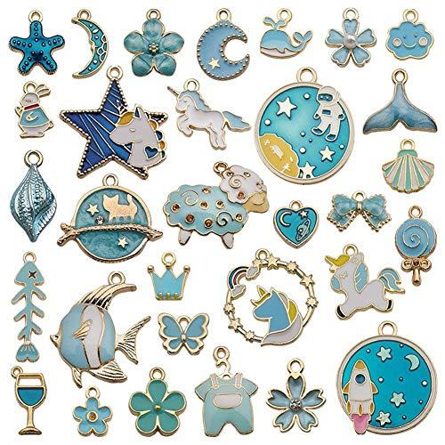 yanqiu 31 colgantes para la fabricación de joyas, diferentes colgantes de animales, para la fabricación de joyas, collares, pulseras, tobillos, pendientes, bisutería DIY (azul)