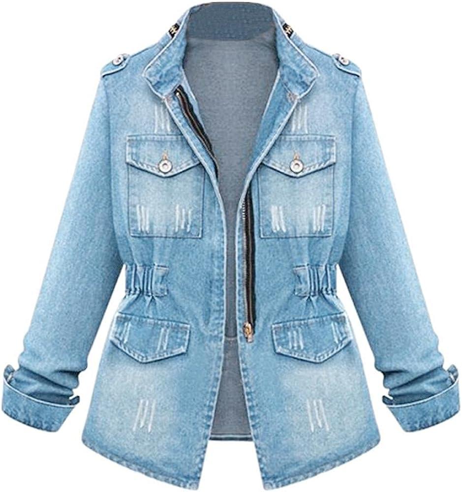 Misaky Washed Jean Coat Plus Size Womens Denim Oversize Jeans Chain Jacket Pocket Coat S-5XL