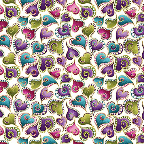 Colorful Swirling Hearts, Gold Metallic Accent, White Background, Cat-I-Tude, Ann Lauer, Benartex, 4204M-09, by The Yard