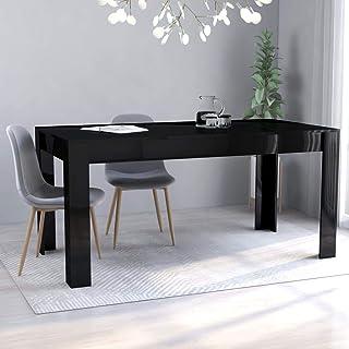 SKM Table de Salle à Manger Noir Brillant 160x80x76 cm Aggloméré