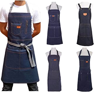 Apron, Denim Apron for Chef Kitchen BBQ with Pockets Grill Baking Cooking Aprons for Men Coffee Shop and Studio Overalls,A...