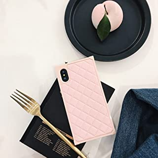 Grid Leather Cases for iPhone Xs X Diamond Lattice Back Cover for iPhone 10 Rhombic Sheepskin Capa Fundas for iPhonex (iPhone X/XS, Pink)