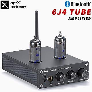T20 Amplificador de tubo Bluetooth, Receptor estéreo 2 canales Clase D Preamplificador digital de alta fidelidad, Amplificador de auriculares para altavoces pasivos con tubos de vacío 6J4