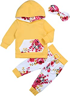 Sinda Baby Girl Clothes Pink Hoodie Floral Pants with Headband for Newborn Infant Toddler 3Pcs Outfit Sets 0-24 Months