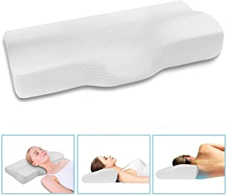 Dream Memory Foam Cervical Contour Pillow - Ergonomic Neck Pillow with Orthopedic Design for Neck Support and Pain Relief - Bed Sleeping Pillow with Washable Pillow Case - White