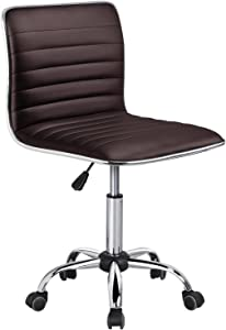 Yaheetech Task Chair Armless Office Chair PU Leather Ribbered Modern Desk Chair Adjustable Low-Back Swivel Chair w/Rolling Wheels Accent Comfy Working Chair Makeup Chair, Brown