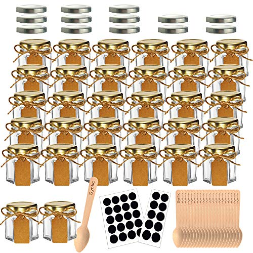 Syntic 32 Pcs 1.5 oz Hexagon Jars/Glass Jars with Gold Lids, Small Mason Jars for Wedding, Party Favors, Extra 13 Silver Lids, Chalkboard Labels, Tag String, 30 Disposable Wooden Spoons Included