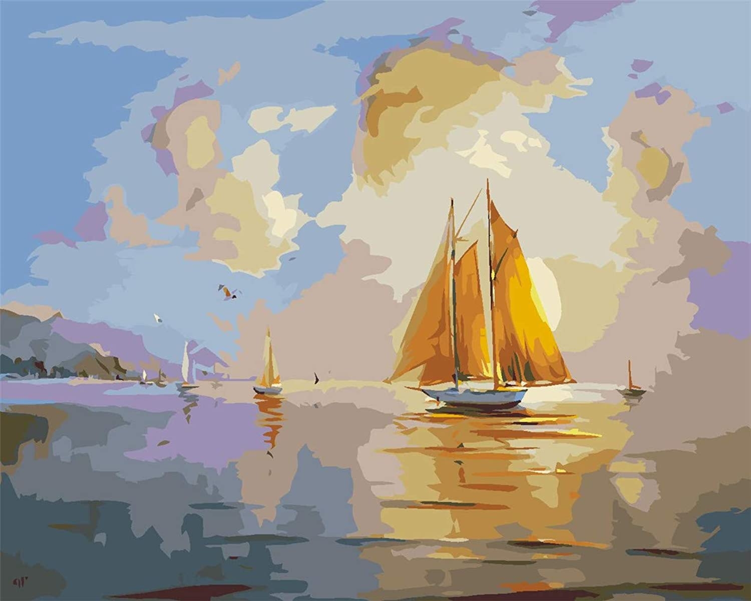 Diy Oil Painting Paint By Number Kit For Adults, color By Number, color By Number,Ocean Sailboat,16''X20''