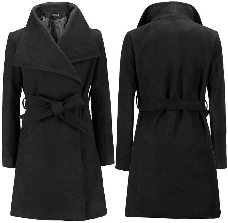 AK Beauty Women's Wool Wrap Coat with Detachable Belt