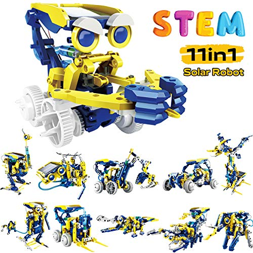 RCSpaceX STEM Learning Solar Robot Kit Toys for Kids- 11 in 1 Educational Science Building Toys Set- DIY Robot Assembly Gift for Boys and Girls Age 8-10+ Years Old