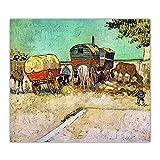 ZNNHEROVan Gogh 《Campamento De Gitanos con Caravanas》 Póster De Pintura Al Óleo sobre Lienzo E Impresión De Arte De Pared Imagen Decoración-60X70Cmx1 Sin Marco