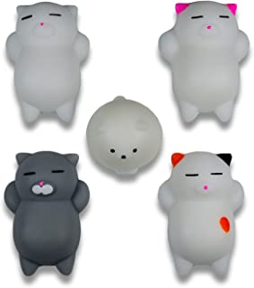 A_MAN Squishy Cats by 5 Pcs | Lovely Kawaii Cute and Small - Slow Rising Toys Mochi - Soft Silicone Fidget Animals For Your Kids and Your Phone Case Stress Relief Decorative Squeezee